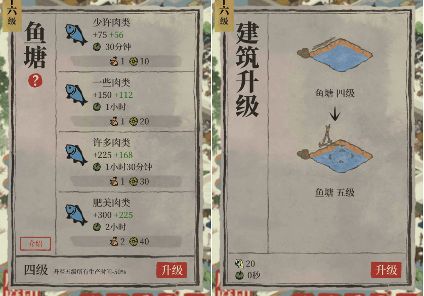 江南百景图鱼塘升级分析详情